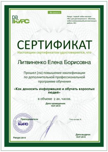Руководитель и ведущий тренер - Елена Литвиненко